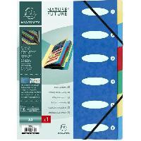 Classement - Archivage EXACOMPTA - Trieur a soufflet elastique - 6 positions - 24.5 x 31.5 - Carte lustrée vernie F.S.C 5/10eme - 4 couleurs aléatoires