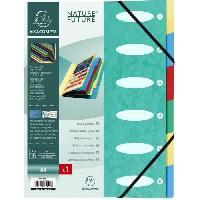Classement - Archivage EXACOMPTA - Trieur a soufflets a élastiques - 6 positions - 24.5 x 31.5 - Feuillets carte - Carte lustrée vernie - Verte