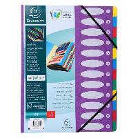 Classement - Archivage EXACOMPTA - Trieur a soufflets a fenetre + élastique - 12 positions - 24.5 x 31.5 - Feuillets carte - Carte lustrée vernie - Violet