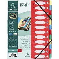 Classement - Archivage EXACOMPTA - Trieur a soufflets avec élastique - 12 positions - 24.5 x 31.5 - Feuillets carte 225G - Carte lustrée vernie - Rouge