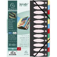 Classement - Archivage EXACOMPTA - Trieur a soufflets avec élastiques - 12 positions - 24.5 x 31.5 - Feuillets carte - Carte lustrée vernie - Noir