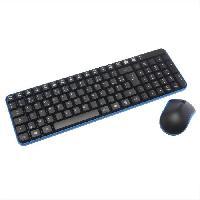 Clavier - Souris - Webcam APM Pack Clavier + Souris Sans fil - Optique - PC / Mac - Noir / Bleu