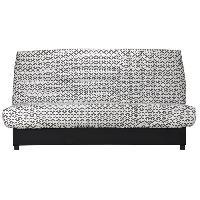 Clic-clac - Banquette Clic-clac BEIJA Banquette clic clac 3 places avec matelas BULTEX - Tissu noir et blanc - Style contemporain - L 192 x P 95 cm