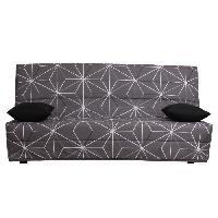 Clic-clac - Banquette Clic-clac SPLOT Banquette clic clac 3 places - Tissu motif Saka - Style contemporain - L 190 x P 95 cm