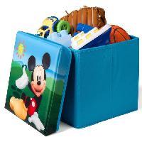 Coffre A Jouets MICKEY - Pouf de rangement/Coffre a Jouets Enfant Pliable - Bleu et Multicolore - 24 x 24 x 22 cm - Delta Children