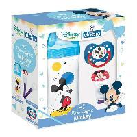 Coffret Cadeau Bebe Coffret Mickey -1 biberon Initiation+ 330ml bleu Mickey. 1 sucette anatomique +18M Mickey. 1 attache sucette Mickey