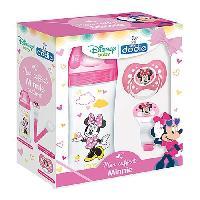 Coffret Cadeau Bebe Coffret Minnie -1 biberon Initiation+ 330ml rose Minnie. 1 sucette anatomique +18M Minnie. 1 attache sucette Minnie