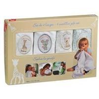 Coffret Cadeau Bebe SOPHIE LA GIRAFE Set de 4 Langes Bébé Brodées Vulli