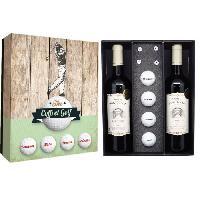 Coffret Cadeau Coffret Golf 4 balles + tee + 2 btles de Bordeaux - Class Wine