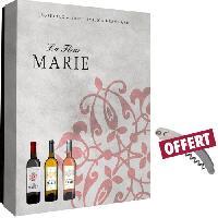 Coffret Cadeau Coffret vide fleur Marie 3 Bouteilles + sommelier