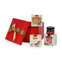 Coffret Cadeau Epicerie - Epicerie Coffret La Surprise. contient 4 produits de terroir dont un bloc de foie gras