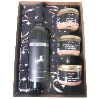 Coffret Cadeau Epicerie - Epicerie Coffret Terroir : 1 bouteille de Vin rouge Tempranillo Robe d'Automne bouteille 75cl.3 terrines gourmandes - Aucune