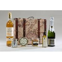 Coffret Cadeau Epicerie - Epicerie Coffret savoureux compose de vin avec de champagne + foie gras + caneles. avec de l'huile et de sel a la truffe
