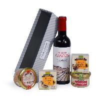 Coffret Cadeau Epicerie - Epicerie JEAN DE VEYRAC Panier Sélection Gourmande. contient 4 produits de terroir et 1 vin