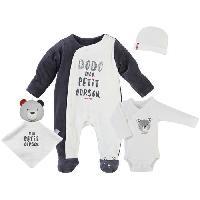 Coffret Textile Set de naissance Les Marins - Ecru et anthracite - Premature