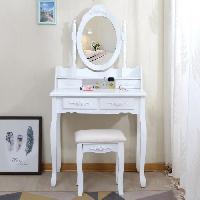 Coiffeuse Coiffeuse classique blanche + tabouret - L 75 cm - Generique
