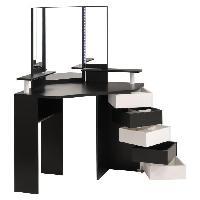 Coiffeuse GLAM Coiffeuse avec LED style contemporain noir et blanc - L 114 cm - Generique