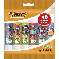 Colle - Pate Adhesive BIC ECOlutions Bâtons de Colle Blanche 8g. Décors Assortis. Pochette Format Spécial de 6