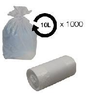 Collecte Des Dechets Sacs poubelle blanc 10L - 10 microns HD -carton de 1000- MID