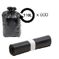 Collecte Des Dechets Sacs poubelle noir 110L - 18 microns HD -carton de 500-