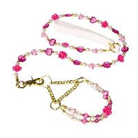 Collier QUARTZ Parure - Ensemble de laisse et de collier pour chien rose et perle - Tour de cou - 24 a 32cm - Longueur 104cm