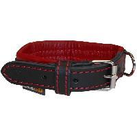 Collier YAGO Collier en Cuir Noir et Rouge Souple et Réglable pour petit chien. taille S 27-35 cm Generique