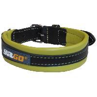 Collier YAGO Collier en cuir - Taille M 34-43 cm - Noir et vert - Pour moyen chien
