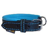 Collier YAGO Collier en cuir - Taille S 27-35 cm - Noir et bleu - Pour petit chien