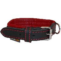 Collier YAGO Collier en cuir - Taille S 27-35 cm - Noir et rouge - Pour petit chien