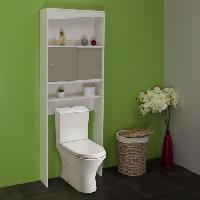 Colonne Wc - Armoire Wc - Coffrage Wc - Pont Wc GALET Meuble WC ou machine a laver L 64 cm - Blanc et taupe mat - Generique