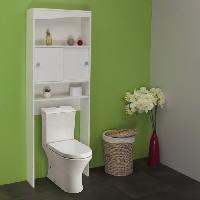 Colonne Wc - Armoire Wc - Coffrage Wc - Pont Wc Meuble GALET WC - Machine a laver Blanc