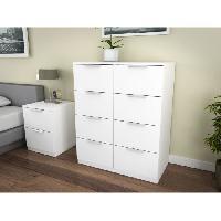 Commode - Chiffonnier - Semainier BILLUND Commode 8 tiroirs 80cm blanc