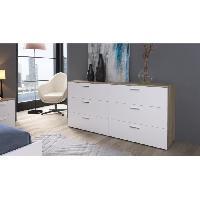 Commode De Chambre CITY Commode de chambre 160 cm - Decor chene clair et blanc