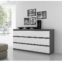 Commode De Chambre Commode NATTI 154cm gris et blanc