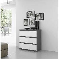 Commode De Chambre Commode NATTI 78cm gris et blanc