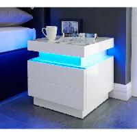 Commode De Chambre FLASH Chevet LED 40 cm - LED multicolore - Blanc brillant