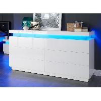 Commode De Chambre FLASH Commode 150 cm avec LED multicolore - Blanc brillant