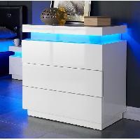 Commode De Chambre FLASH Commode 75 cm avec LED multicolore - Blanc brillant