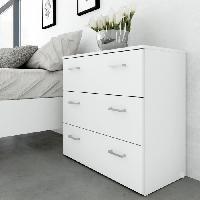 Commode De Chambre SPACE Commode 3 tiroirs 74 cm - Blanc