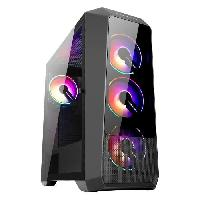 Composant - Piece Detachee ABKONCORE BOITIER PC H300G Sync - Moyen Tour - retro eclairage RGB - Noir - Verre trempe - Format ATX -ABKO-H-300G-SYNC-