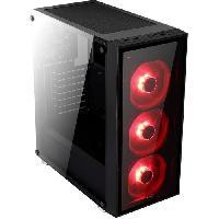 Composant - Piece Detachee Boitier PC QUARTZ Rouge -verre trempe