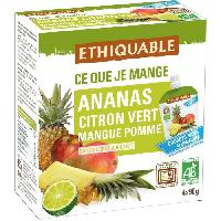 Compote Gourde Ananas Citron Vert Mangue Pomme - 4 x 90g