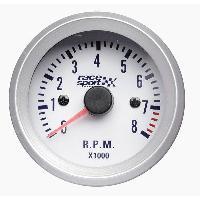Compteurs & Manos Manometre Compte tours - fond blanc - diametre 52mm - ADNAuto