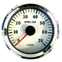 Compteurs & Manos Manometre compte tours - contour chrome fond blanc - Diametre 80mm - VDO