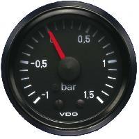 Compteurs & Manos Manometre pression Turbo mecanique - 0-1.5b - fond noir - Diametre 52mm