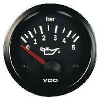 Compteurs & Manos Manometre pression huile - 0-5b - fond noir - Diametre 52mm