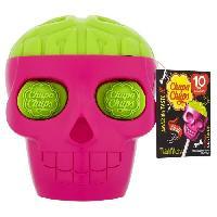 Confiserie CHUPA CHUPS Mini Skull de 10 sucettes - Forme de tete de mort - Parfums fraise et citron vert