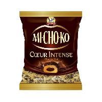 Confiserie De Chocolat - Barre Chocolatee LA PIE QUI CHANTE Bouchées chocolatées noir Mi-Cho-Ko fourrées au caramel Coeur Intense - 230 g
