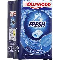 Confiserie Hollywood 2Fresh chewing-gum menthe fraiche sans sucres 30 dragees
