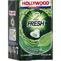 Confiserie Hollywood 2Fresh chewing-gum menthe verte sans sucres 30 dragees